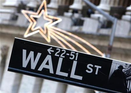 A street sign is seen on Wall Street outside the New York Stock Exchange York January 18, 2008. REUTERS/Brendan McDermid