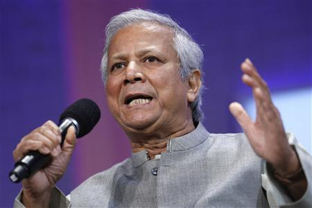 Grameen Bank Founder and Managing Director Muhammad Yunus participates in a panel discussion during the Clinton Global Initiative in New York September 26, 2008. Established by former U.S. President Bill Clinton in 2005, the event is designed to bring donors together with people in need to try to solve global problems. REUTERS/Chip East