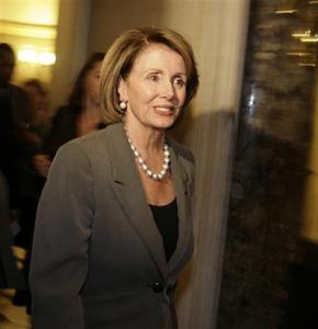 U.S. House Speaker Nancy Pelosi leaves after a meeting with Treasury Secretary Henry Paulson working on a bailout package for the current financial and banking crisis, at the US Capitol in Washington, September 27, 2008. REUTERS/Yuri Gripas