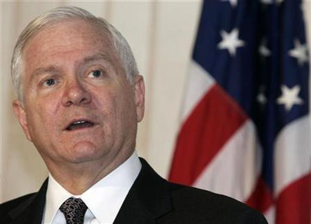 U.S. Defense Secretary Robert Gates speaks during a news conference at Pristina Airport October 7, 2008. REUTERS/Hazir Reka
