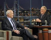 "<p>Republican presidential nominee Sen. John McCain speaks to host David Letterman during an appearance on ""Late Show with David Letterman"" in New York, October 16, 2008. REUTERS/CBS/John Paul Filo/Handout</p>"