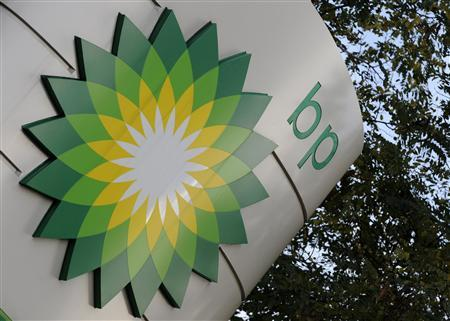 A sign for a BP petrol station is seen in London October 27, 2008. REUTERS/Toby Melville