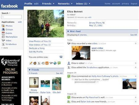 A Facebook profile page in an undated image courtesy of the company. REUTERS/Handout