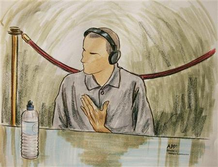 Ali Hamza al Bahlul before a military commission at Guantanamo Naval Base in a 2004 courtroom illustration. REUTERS/Art Lien/POOL