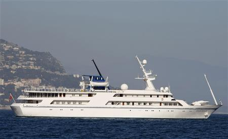 The 270-foot-long Ocean Breeze, built for former Iraqi dictator Saddam Hussein, is seen in the bay of Saint Jean Cap Ferrat, southeastern France in this March 13, 2008, file photo. REUTERS/Eric Gaillard