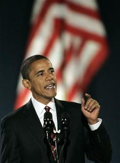 President-elect Senator Barack Obama speaks to supporters during his election night rally after being declared the winner of the 2008 U.S. Presidential Campaign in Chicago, November 4, 2008. REUTERS/Jim Bourg