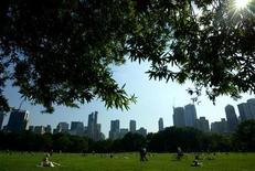 <p>Park goers relax on the Sheep's Meadow in New York's famed Central Park in this July 15, 2003 file photo. REUTERS/Mike Segar</p>