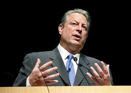 Former U.S. vice president Al Gore delivers a speech at the Guggenheim museum in Bilbao October 16, 2008. REUTERS/Alfredo Aldai/Pool