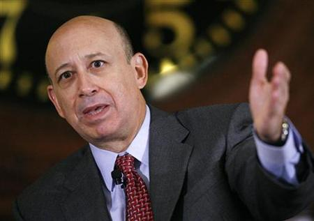 Lloyd Blankfein, Chairman and CEO of Goldman Sachs & Co., speaks at the Wall Street Journal Deals & Deal Makers conference, held at the New York Stock Exchange in this June 27, 2007 file photo. REUTERS/Chip East