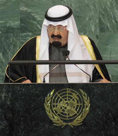 Saudi Arabia's King Abdullah bin Abdul Aziz Al Saud speaks during a meeting of the General Assembly on the Culture of Peace at the United Nations in New York November 12, 2008. REUTERS/Shannon Stapleton