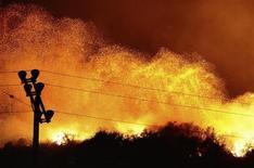 <p>Le fiamme lambiscono una collina durante un incendio a Los Angeles. REUTERS/Gene Blevins (UNITED STATES)</p>
