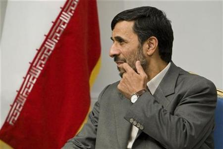 Iran's President Mahmoud Ahmadinejad attends an official meeting with Sudan's Foreign Minister Deng Alor in Tehran in this file photo from October 21, 2008. REUTERS/Raheb Homavandi