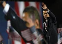 <p>President-elect Senator Barack Obama waves to supporters during his election night rally in Chicago November 4, 2008.REUTERS/Carlos Barria</p>