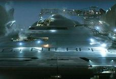 "<p>The USS Enterprise in a scene from the upcoming ""Star Trek"" film. Paramount already has hit warp speed with its high-profile relaunch of the franchise. For its first 2009 tentpole, the studio has taken the unprecedented step of rolling out a full-scale promotional tour for ""Star Trek"" nearly six months before its May 8 release. REUTERS/Handout</p>"