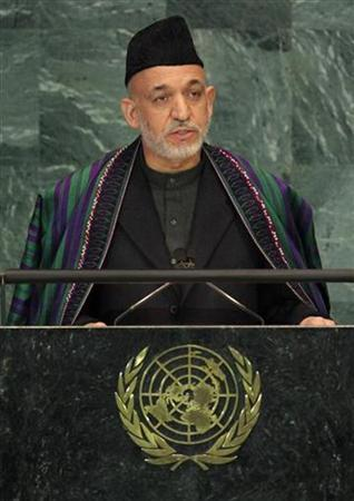Afghan President Hamid Karzai speaks during a meeting of the General Assembly on the Culture of Peace at the United Nations in New York November 12, 2008. REUTERS/Shannon Stapleton