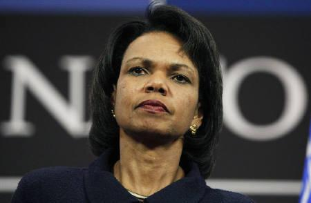 U.S. Secretary of State Condoleezza Rice addresses a news conference at the end of a NATO foreign ministers meeting at the Alliance headquarters in Brussels December 2, 2008.    REUTERS/Thierry Roge