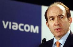<p>Viacom Inc. Chief Executive Philippe Dauman speaks during a news conference in Mumbai, May 22, 2007. REUTERS/Punit Paranjpe</p>