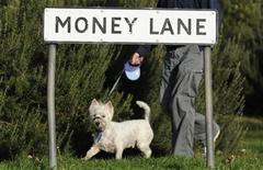 <p>A man walks his dog past a residential street sign in London, December 1, 2008. REUTERS/Toby Melville</p>