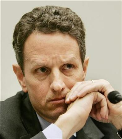 Timothy Geithner testifies at the U.S. House Financial Services Committee about financial market regulatory restructuring in Washington July 24, 2008. REUTERS/Larry Downing