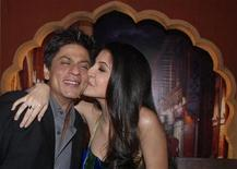 <p>Bollywood actress Anushka Sharma (R) kisses Shah Rukh Khan during a promotional event for their movie 'Rab Ne Bana Di Jodi' (God made the couple) in Mumbai December 18, 2008. The movie is directed by Aditya Chopra and was released on December 12, 2008. Picture taken December 18, 2008. REUTERS/Manav Manglani</p>