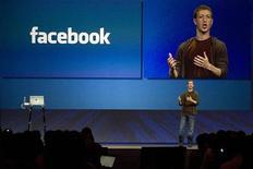 <p>Mark Zuckerberg, fondatore e amministratore delegato di Facebook, durante una presentazione. REUTERS/Kimberly White</p>