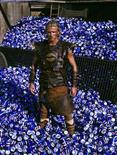 "<p>David Beckham poses in medieval costume surrounded by soft drink cans during the shooting of ""Pepsi Foot Battle"" TV spot filmed in the Spanish central town of Medinaceli July 2003. REUTERS/HO PEPSI</p>"