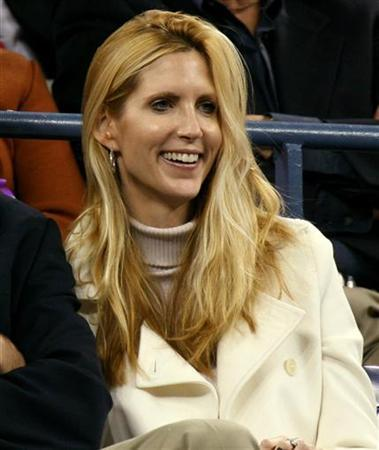 Conservative commentator Ann Coulter watches play at the U.S. Open tennis tournament in New York September 4, 2006. REUTERS/Jeff Zelevansky