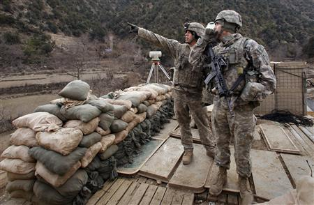 Soldiers with the US Army's 6-4 Cavalry point out strategic landmarks near Combat Outpost Lowell in eastern Afghanistan January 6, 2009. REUTERS/Bob Strong