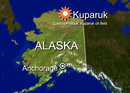 A corroded pipeline ruptured on Christmas Day at ConocoPhillips' Kuparuk oil field in Alaska, causing one of the biggest spills of oil-laced water at the field in years, the Alaska Department of Environmental Conservation said on Tuesday. REUTERS/Graphics