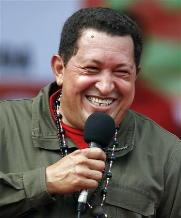 Venezuelan President Hugo Chavez speaks during a campaign rally with women in Campo Carabobo January 17, 2009. REUTERS/Jorge Silva