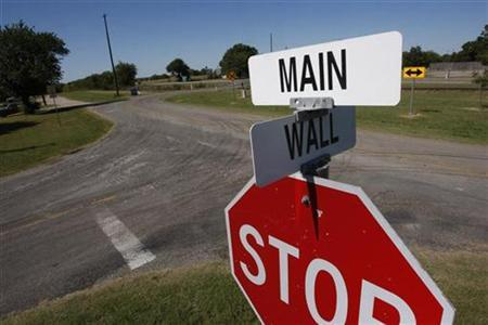 A sign marks the intersection of Main Street and Wall Street in Windom, Texas, October 8, 2008. REUTERS/Jessica Rinaldi