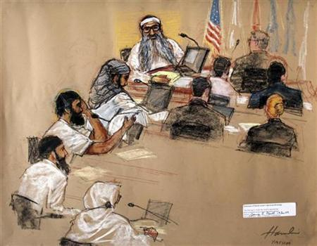 In this photo of a sketch by courtroom artist Janet Hamlin, reviewed by the U.S. Military, the five Sept. 11, 2001 attack co-defendants sit during a hearing at the U.S. Military Commissions court for war crimes, at the U.S. Naval Base, in Guantanamo Bay, January 19, 2009. From top to bottom, they are Khalid Sheikh Momhammed, Waleed Bin Attash, Ramzi Binalshibh, Ali Abdul Aziz Ali, and Mustafa Ahmad al Hawsawi. REUTERS/Janet Hamlin/Pool