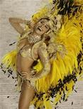 <p>Actress Juliana Paez dances as the drum queen of the Viradouro samba school during the first night of parades by the top samba groups in Rio de Janeiro's Sambadrome early February 4, 2008. REUTERS/Fernando Soutello</p>