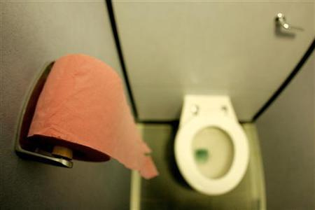 A cubicle is seen at the Oxford Circus lavatories as they re-open to the public in London, May 20, 2005. REUTERS/Dylan Martinez