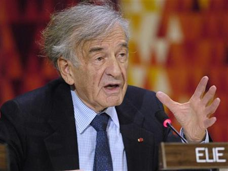 Noble Laureate Elie Wiesel speaks at the United Nations in New York in this file picture. REUTERS/Chip East