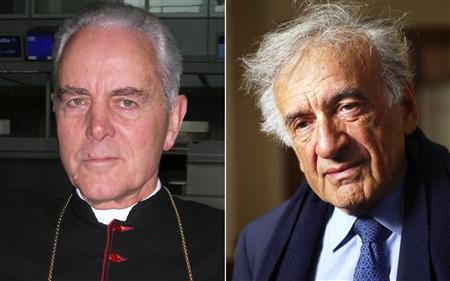 File photos show British-born Bishop Richard Williamson (L) in Frankfurt on February 28, 2007 and Nobel Laureate Elie Wiesel in Washington on March 17, 2005. Pope Benedict has given credence to ''the most vulgar aspect of anti-Semitism'' by rehabilitating a Holocaust-denying bishop, said Elie Wiesel, the death camp survivor, author and Nobel Peace Prize winner. British-born Richard Williamson, one of four traditionalist bishops whose excommunications were lifted on Saturday, has made several statements denying the full extent of the Holocaust of European Jews, as accepted by mainstream historians. REUTERS/Jens Falk/Jeff Christiansen/Files
