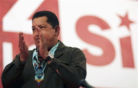 Venezuela's President Hugo Chavez campaigns for the 'Yes' option in the southern state of Bolivar January 30, 2009. REUTERS/PSUV/Handout