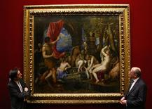 "<p>Director General of London's National Gallery, Dr Nicholas Penny (L) and Director-General of the National Galleries of Scotland, John Leighton pose for photographers in front of Titian's ""Diana and Actaeon"" during a news conference in the National Gallery of Scotland, in Edinburgh, Scotland February 2, 2009. The National Galleries of Scotland and London's National Gallery said on Monday they had raised the 50 million pounds ($71 million) needed to save a key work by Renaissance master Titian before it was put up for sale. REUTERS/David Moir</p>"