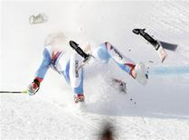 <p>Switzerland's Daniel Albrecht crashes on the Streif slope during the last practice for the Alpine Skiing World Cup downhill race in Kitzbuehel in this January 22, 2009 file photo. REUTERS/Leonhard Foeger/Files</p>