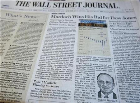 A photograph of the front page of the August 1, 2007 edition of the Wall Street Journal. REUTERS/Mike Segar
