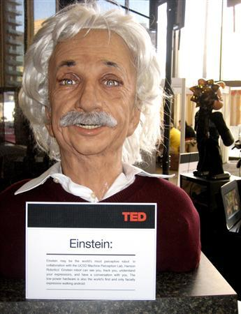 The Einstein robot is shown on display in this publicity image from the TED2009 Conference in Long Beach, California February 5, 2009. REUTERS/Kevin Carpenter for David Hanson/Handout