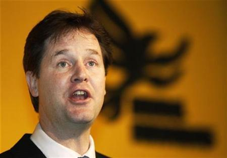 The leader of Liberal Democrats Nick Clegg makes his first major policy speech to his party, on public services, in London in this file photo from January 12, 2008. REUTERS/Stephen Hird