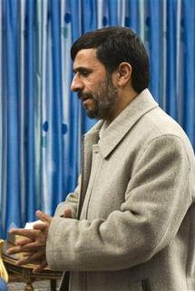 Iranian President Mahmoud Ahmadinejad arrives for an official meeting with Samir Qantar of Lebanon in Tehran February 9, 2009. REUTERS/Raheb Homavandi