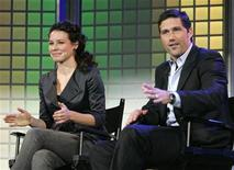"<p>Stars of the Disney/ABC series ""Lost"", Evangeline Lily (L) and Matthew Fox (R), talk at the Disney keynote address at the 2007 International Consumer Electronics Show (CES) in Las Vegas, Nevada January 8, 2007. REUTERS/Rick Wilking</p>"