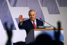 """<p>Глава правой партии """"Ликуд"""" Биньямин Нетаньяху выступает перед своими сторонниками в Тель-Авиве 11 февраля 2009 года. Право сформировать правительство Израиля получит глава правой партии """"Ликуд"""" Биньямин Нетаньяху, говорится в заявлении администрации президента страны. REUTERS/Yannis Behrakis</p>"""