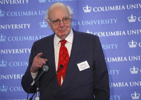 Paul Volcker, former chairman of the Federal Reserve Bank and current chairman of the President's Economic Recovery Advisory Board, speaks at the ''Emerging from the Financial Crisis'' annual conference at Columbia University in New York, February 20, 2009. REUTERS/Chip East