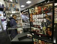 "<p>An advertisement for the ""Grand Theft Auto 4"" video game sits on display at a store in New York April 28, 2008. REUTERS/Shannon Stapleton</p>"