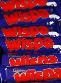Bars of Wispa chocolate are seen at Cadbury World in Birmingham, October 7, 2008. Picture taken October 7, 2008. REUTERS/Darren Staples