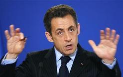 <p>Il presidente francese Nicolas Sarkozy a Bruxelles lo scorso primo marzo, per il vertice straordinario del Consiglio Ue. REUTERS/Francois Lenoir</p>
