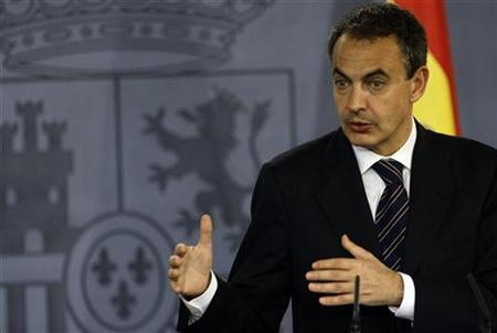 Spain's Prime Minister Jose Luis Rodriguez Zapatero during a joint news conference with Russia's President Dmitry Medvedev at Moncloa Palace in Madrid, March 3, 2009. REUTERS/Sergio Perez
